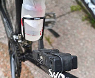 Water bottle and the bike lock.
